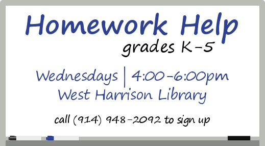 Homework Help at the West Harrison Branch offered Wednesdays between 4:00-6:00pm